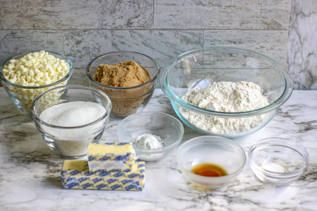 White Chocolate Chip Blondies Recipe ingredients separated in portion bowls